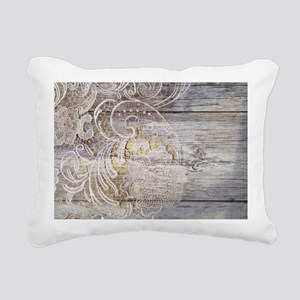 barn wood lace western c Rectangular Canvas Pillow