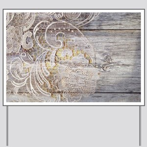 barn wood lace western country Yard Sign