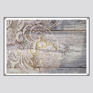 barn wood lace western country Banner