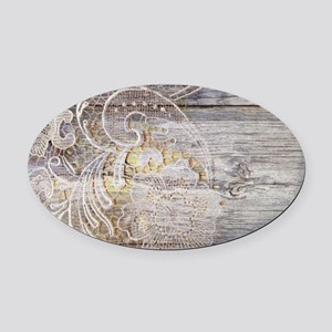 barn wood lace western country Oval Car Magnet