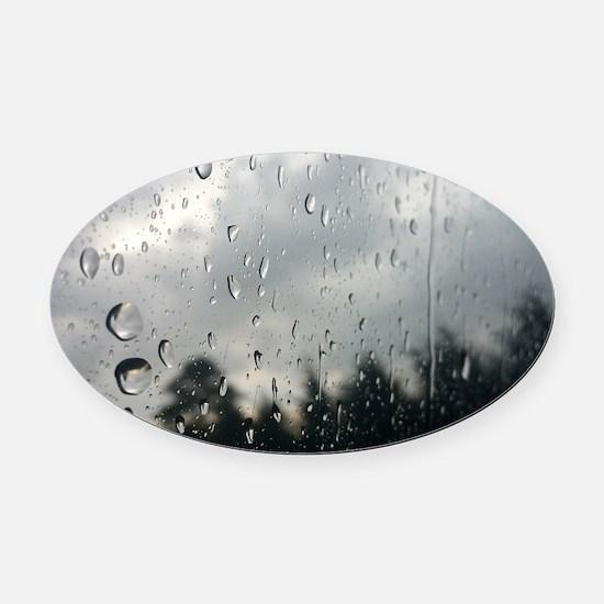Cute Raindrops Oval Car Magnet