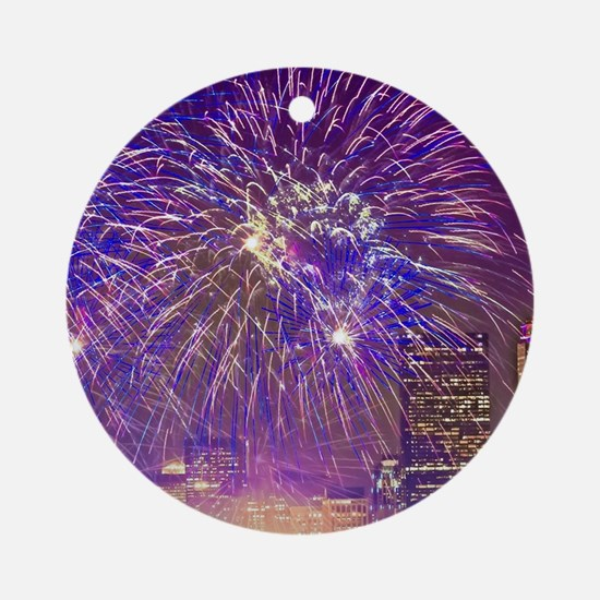 Boston, MA July 4th Fireworks Ornament (Round)