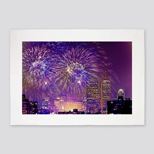 Boston, MA July 4th Fireworks 5'x7'Area Rug