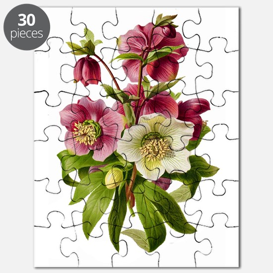 Purple and White Hellebores Puzzle