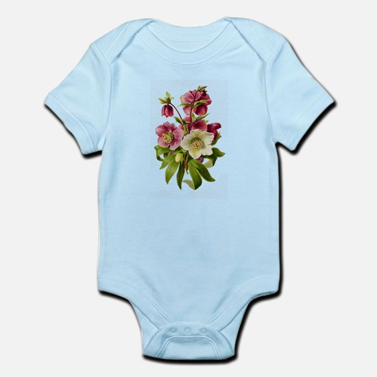 Purple and White Hellebores Infant Bodysuit