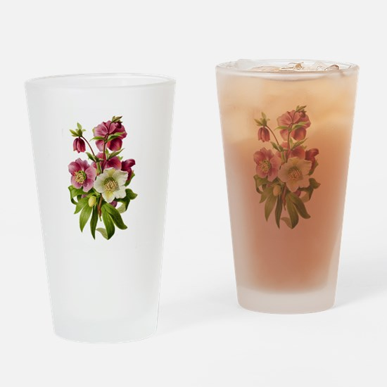 Purple and White Hellebores Drinking Glass