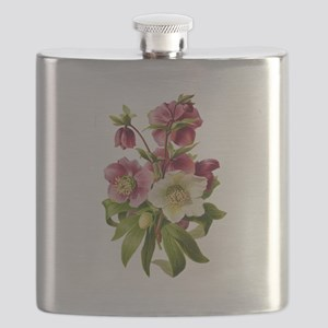 Purple and White Hellebores Flask