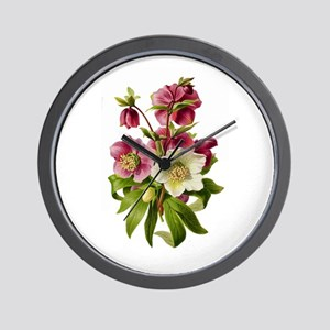 Purple and White Hellebores Wall Clock