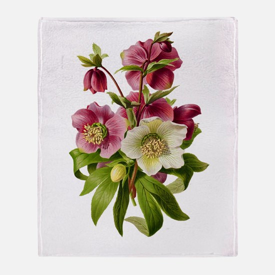 Purple and White Hellebores Throw Blanket
