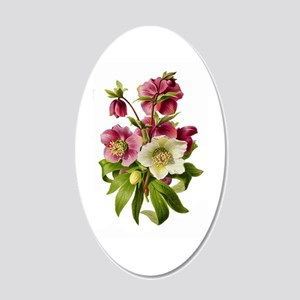 Purple and White Hellebores 20x12 Oval Wall Decal