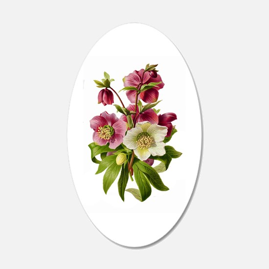 Purple and White Hellebores Wall Decal
