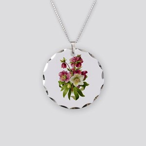 Purple and White Hellebores Necklace Circle Charm
