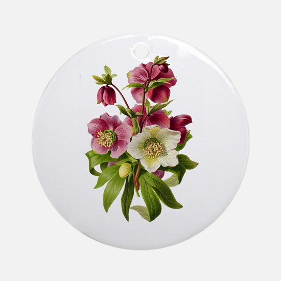 Purple and White Hellebores Ornament (Round)