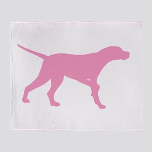 Pink Pointer Dog Throw Blanket