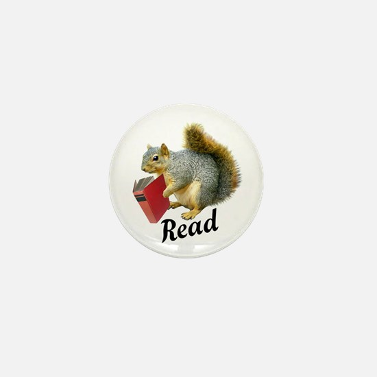 Squirrel Book Read Mini Button