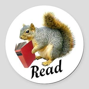 Squirrel Book Read Round Car Magnet