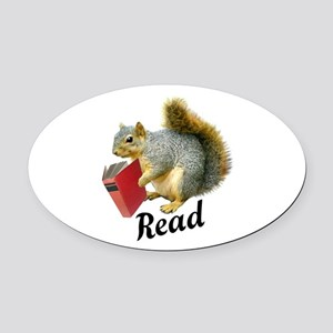 Squirrel Book Read Oval Car Magnet