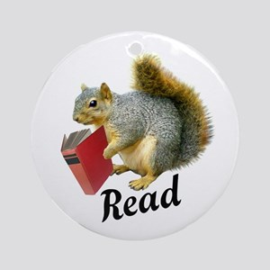 Squirrel Book Read Ornament (Round)