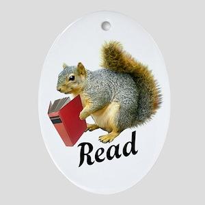 Squirrel Book Read Ornament (Oval)