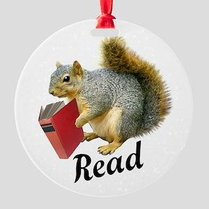 Squirrel Book Read Ornament