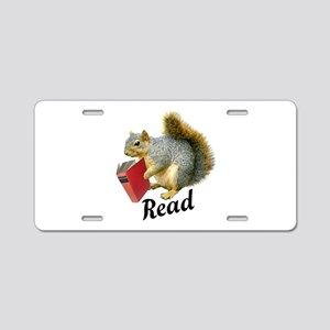 Squirrel Book Read Aluminum License Plate