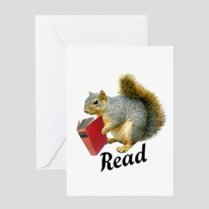 Squirrel Book Read Greeting Cards