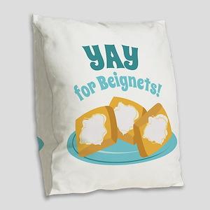 For Beignets! Burlap Throw Pillow