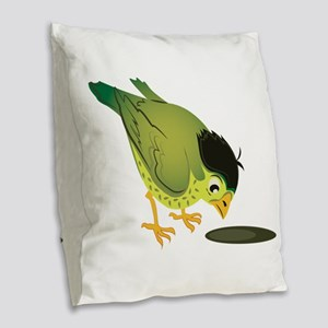 Llittle Bird Burlap Throw Pillow
