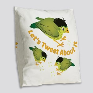 Tweet The Bird Burlap Throw Pillow