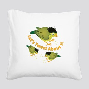 Tweet The Bird Square Canvas Pillow
