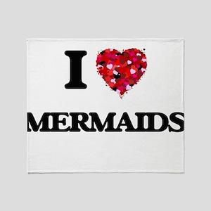 I Love Mermaids Throw Blanket