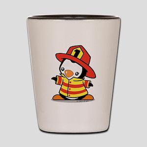 Firefighter Penguin Shot Glass