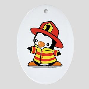 Firefighter Penguin Ornament (Oval)