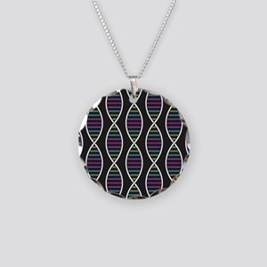 Strands of DNA Necklace Circle Charm