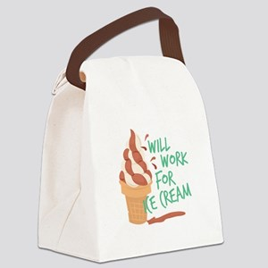 Work For Ice Cream Canvas Lunch Bag
