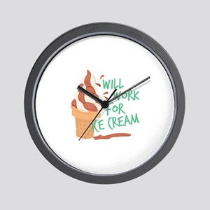 Work For Ice Cream Wall Clock