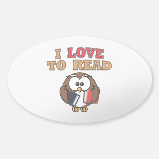 Love to Read Owl Sticker (Oval)