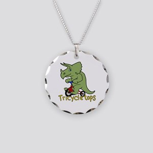 Triceratops Bicycle Necklace Circle Charm