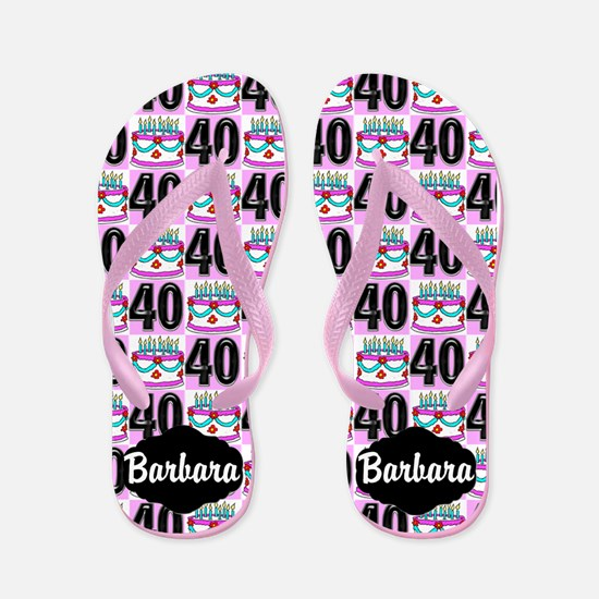 40th Birthday Cake Flip Flops
