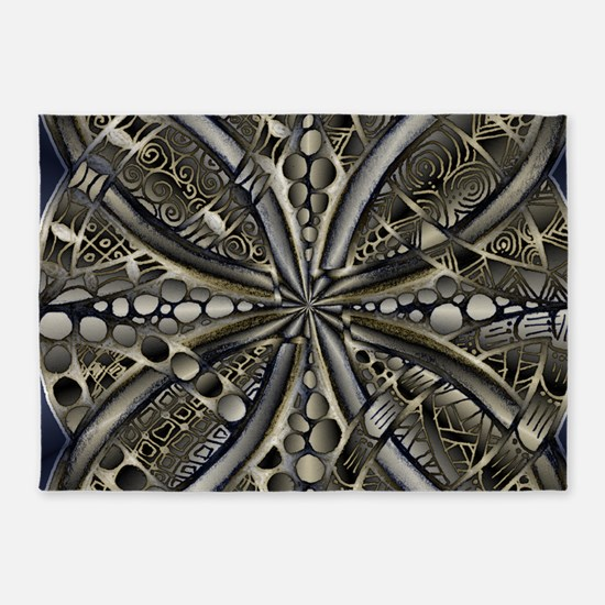 Blue Black Gold Silver Celtic Knot 5'x7'Area Rug
