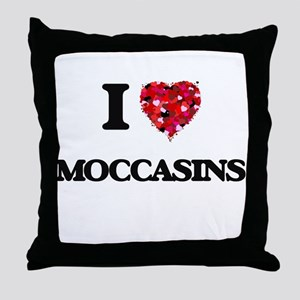 I Love Moccasins Throw Pillow