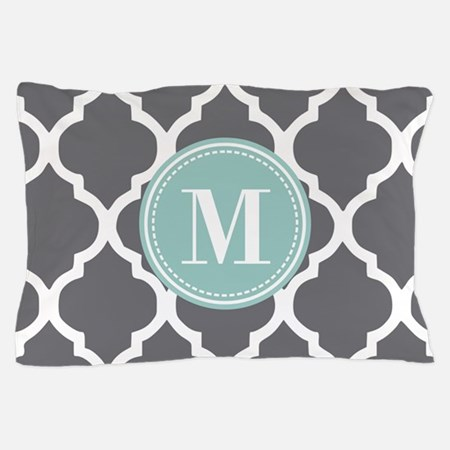 Gray Mint Quatrefoil Monogram