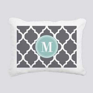 Gray Mint Quatrefoil Mon Rectangular Canvas Pillow