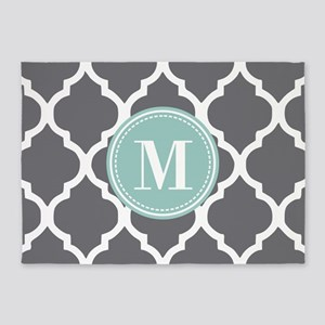 Gray Mint Quatrefoil Monogram 5'x7'Area Rug