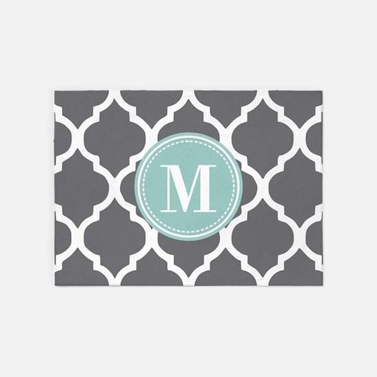 Gray Mint Quatrefoil Monogram 5'x7'Area Rug