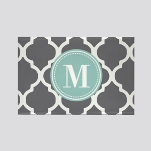 Gray Mint Quatrefoil Monogram Rectangle Magnet