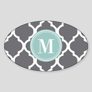 Gray Mint Quatrefoil Monogram Sticker (Oval)