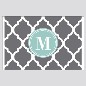Gray Mint Quatrefoil Monogram Large Poster