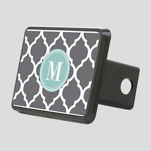 Gray Mint Quatrefoil Monog Rectangular Hitch Cover