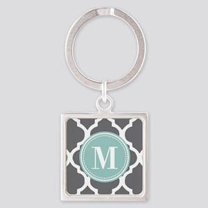 Gray Mint Quatrefoil Monogram Square Keychain